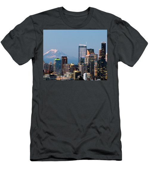 Seattle At First Light II Men's T-Shirt (Slim Fit) by E Faithe Lester