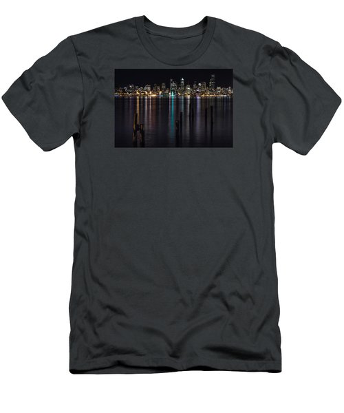 Seattle At Night Men's T-Shirt (Slim Fit) by Ed Clark