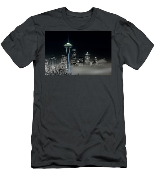 Seattle Foggy Night Lights In Bw Men's T-Shirt (Athletic Fit)