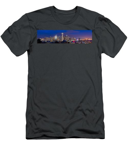 Seattle Night View Men's T-Shirt (Slim Fit) by Ken Stanback