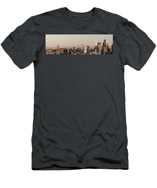 Seattle Panorama At Dusk Men's T-Shirt (Slim Fit) by E Faithe Lester
