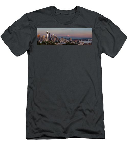 Men's T-Shirt (Slim Fit) featuring the photograph Seattle Skyline And Mt. Rainier Panoramic Hd by Adam Romanowicz