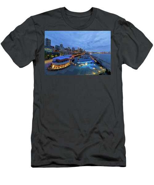 Seattle Skyline From The Waterfront At Blue Hour Men's T-Shirt (Athletic Fit)