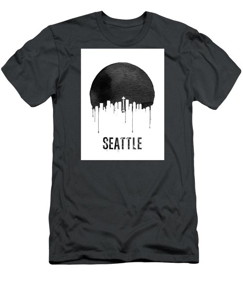 Seattle Skyline White Men's T-Shirt (Slim Fit) by Naxart Studio
