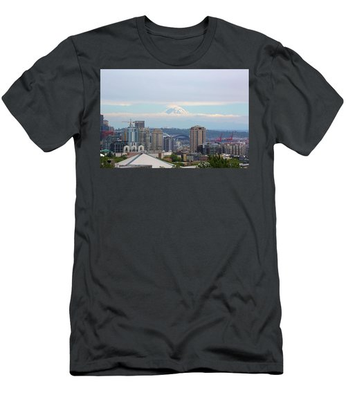 Seattle Skyline With Mt Rainier In Clouds Men's T-Shirt (Athletic Fit)