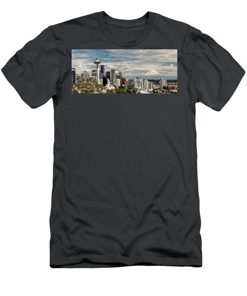 Seattle Space Needle With Mt. Rainier Men's T-Shirt (Slim Fit) by Tony Locke