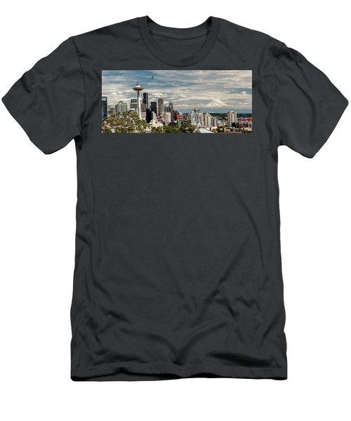 Seattle Space Needle With Mt. Rainier Men's T-Shirt (Slim Fit)
