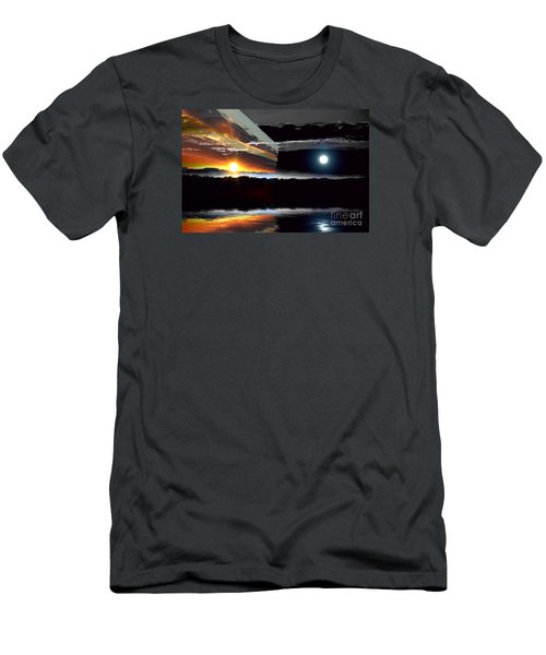 Sechelt Sunset Day And Night Men's T-Shirt (Slim Fit) by Elaine Hunter
