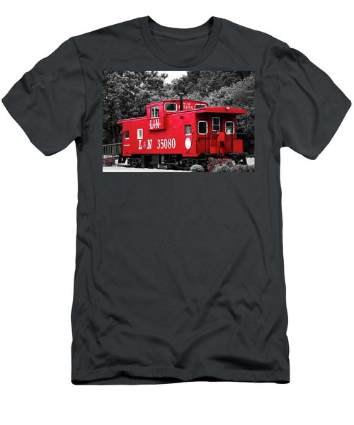 Men's T-Shirt (Slim Fit) featuring the photograph Selective Color Red Caboose by Parker Cunningham