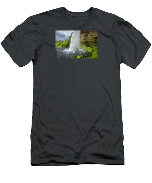 Seljalandsfoss With Rainbow, Iceland Men's T-Shirt (Athletic Fit)