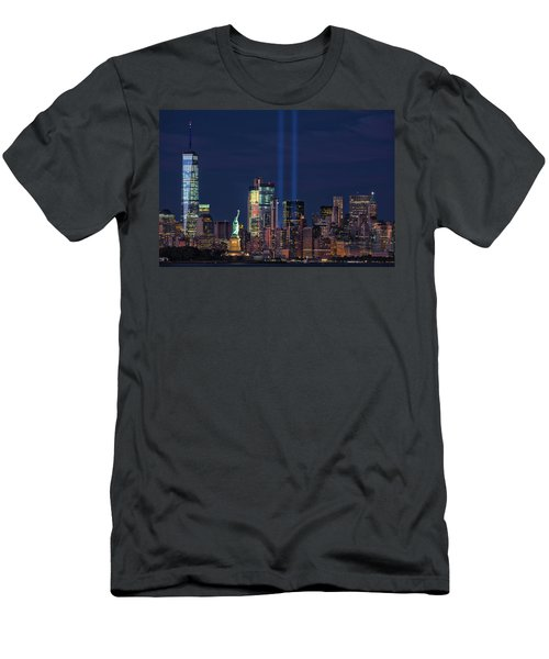 Men's T-Shirt (Slim Fit) featuring the photograph September 11tribute In Light by Emmanuel Panagiotakis