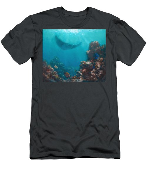 Serenity - Hawaiian Underwater Reef And Manta Ray Men's T-Shirt (Slim Fit) by Karen Whitworth