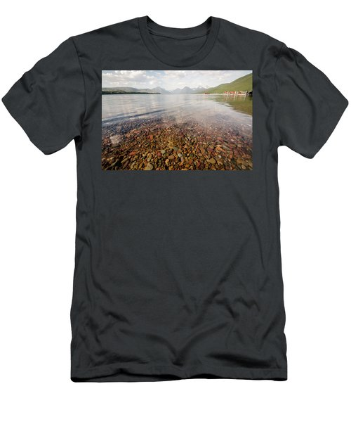 Men's T-Shirt (Athletic Fit) featuring the photograph Setting Sun On Lake Mcdonald by Margaret Pitcher
