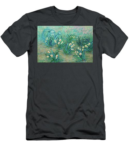 Men's T-Shirt (Athletic Fit) featuring the painting Seven Daffodils by Xueling Zou