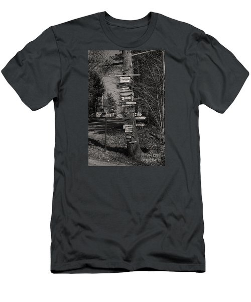 Men's T-Shirt (Slim Fit) featuring the photograph Shaker Jerry Road-moultonborough N H by Mim White