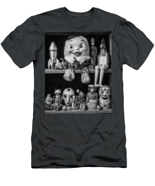 Shelf Of Old Toys In Black And White Men's T-Shirt (Athletic Fit)