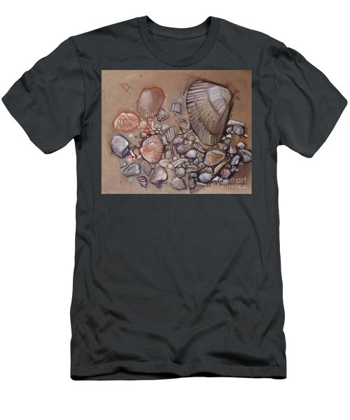 Shell Collection Beach Seashell Tan Clam Sand Men's T-Shirt (Athletic Fit)