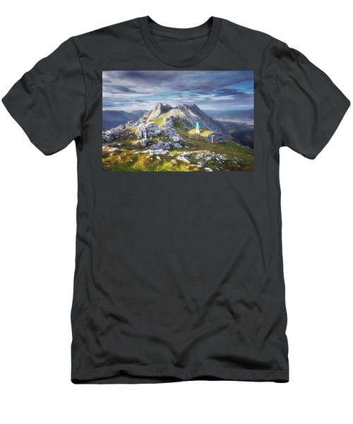 Shelter In The Top Of Urkiola Mountains Men's T-Shirt (Athletic Fit)