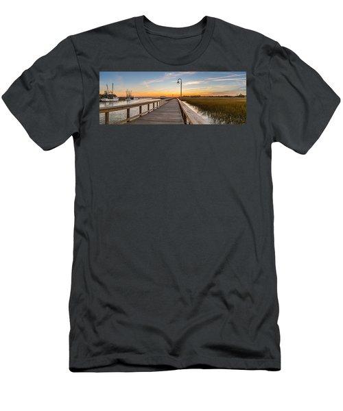 Shem Creek Pier Panoramic Men's T-Shirt (Athletic Fit)