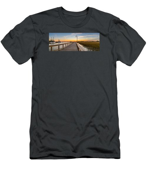 Shem Creek Pier Panoramic Men's T-Shirt (Athletic Fit)
