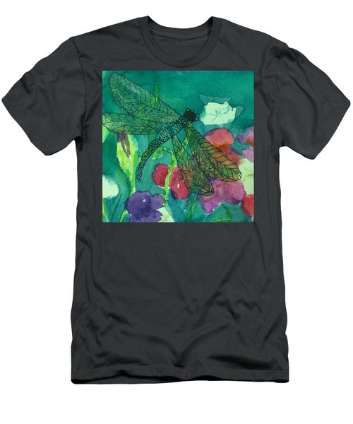 Shimmering Dragonfly W Sweetpeas Square Crop Men's T-Shirt (Athletic Fit)