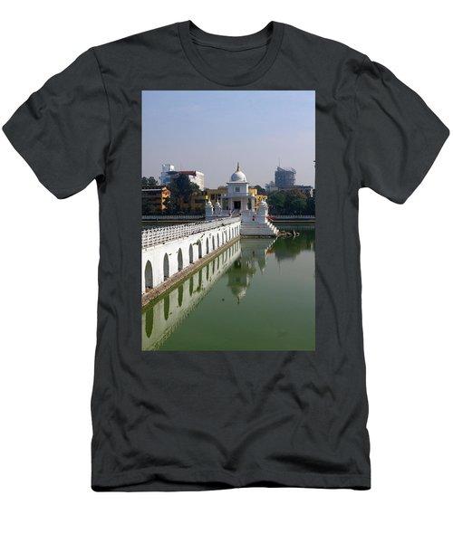 Shiva Temple In Lake Rani Pokharil, Kathmandu, Nepal Men's T-Shirt (Slim Fit) by Aidan Moran