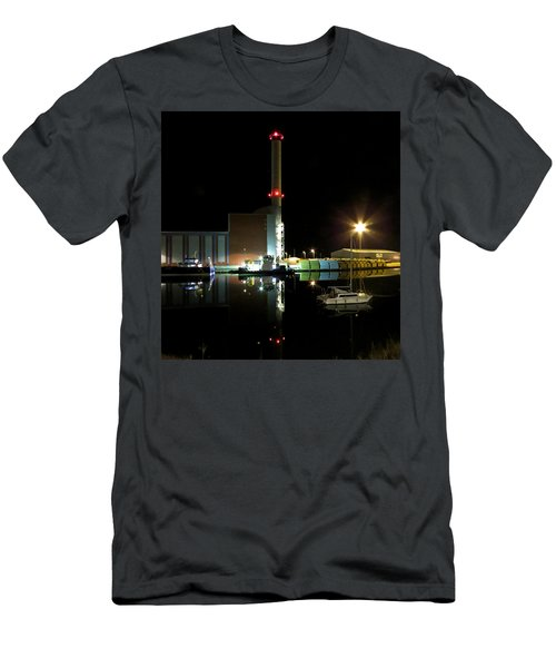 Shoreham Power Station Night Reflection Men's T-Shirt (Slim Fit) by John Topman