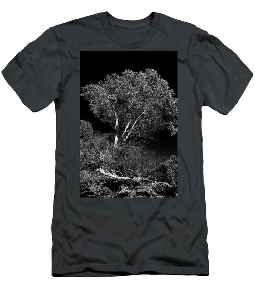 Men's T-Shirt (Slim Fit) featuring the photograph Shoreline Tree by Roger Mullenhour