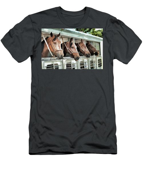 Men's T-Shirt (Slim Fit) featuring the photograph Show Horses On The Move  by Wilma Birdwell