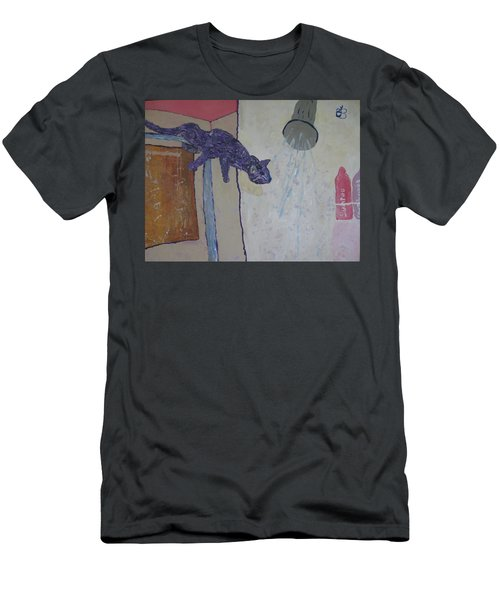 Men's T-Shirt (Slim Fit) featuring the painting Shower Cat by AJ Brown