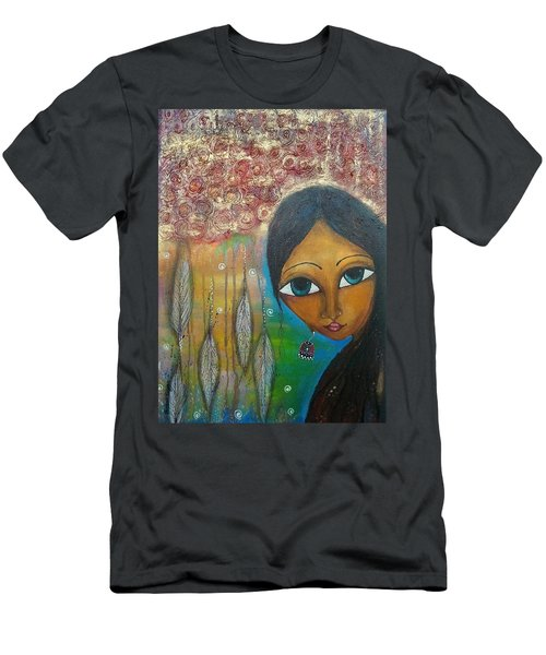 Men's T-Shirt (Slim Fit) featuring the mixed media Shower Of Roses by Prerna Poojara