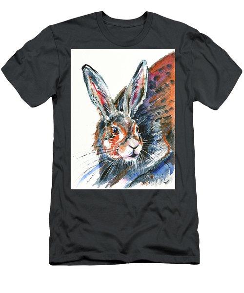 Men's T-Shirt (Slim Fit) featuring the painting Shy Hare by Zaira Dzhaubaeva