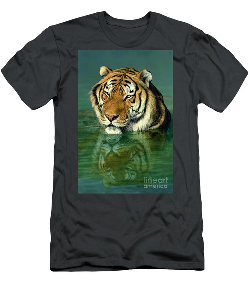 Siberian Tiger Reflection Wildlife Rescue Men's T-Shirt (Slim Fit) by Dave Welling