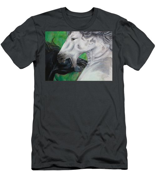 Men's T-Shirt (Athletic Fit) featuring the painting Sibling Rivalry by Thomas Lupari