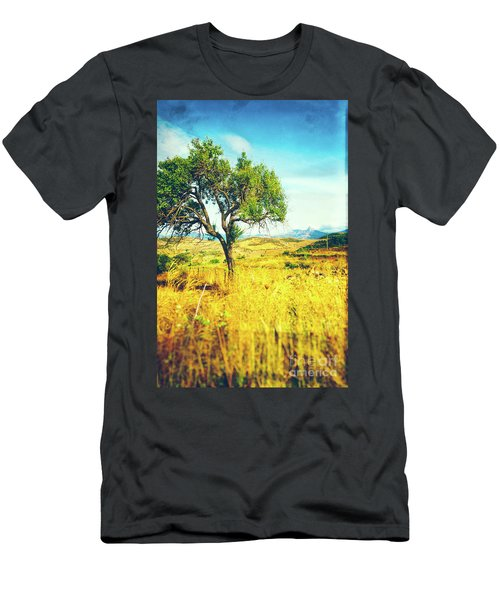Men's T-Shirt (Athletic Fit) featuring the photograph Sicilian Landscape With Tree by Silvia Ganora