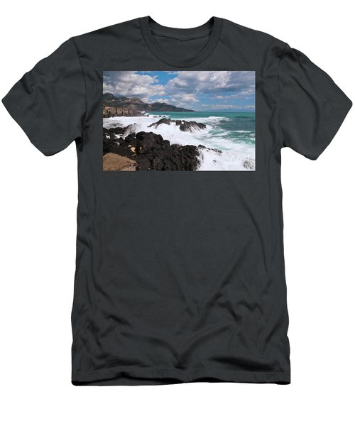 Men's T-Shirt (Athletic Fit) featuring the photograph Sicilian Stormy Sound by Silva Wischeropp