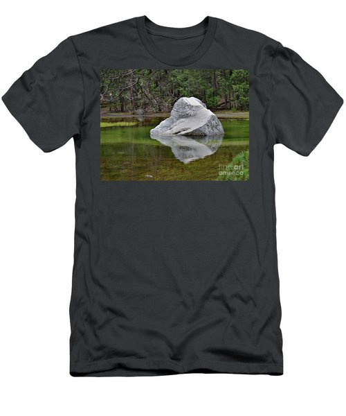 Side View Of A Rock At Mirror Lake Men's T-Shirt (Slim Fit) by Debby Pueschel