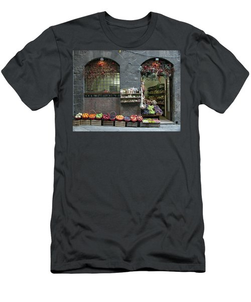 Men's T-Shirt (Slim Fit) featuring the photograph Siena Italy Fruit Shop by Mark Czerniec