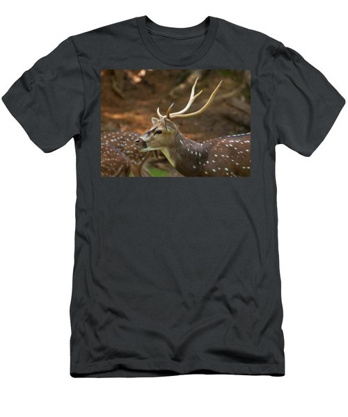 Men's T-Shirt (Athletic Fit) featuring the photograph Sika Deer Chewing Grass by Chris Flees