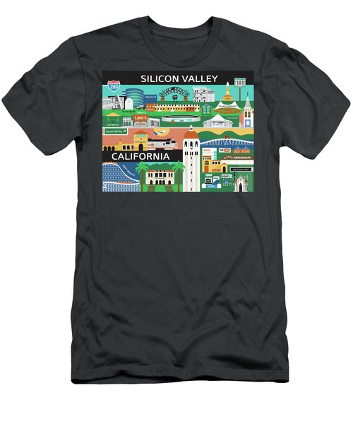 Silicon Valley California Horizontal Scene - Collage Men's T-Shirt (Athletic Fit)