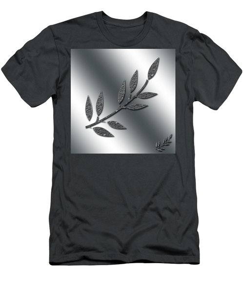 Silver Leaves Abstract Men's T-Shirt (Athletic Fit)