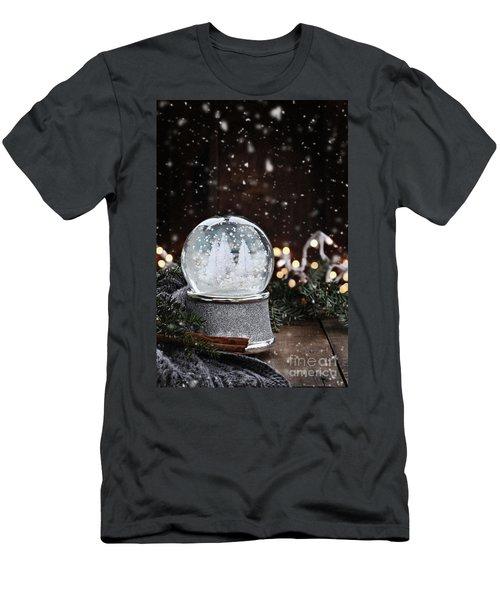 Silver Snow Globe Men's T-Shirt (Slim Fit) by Stephanie Frey