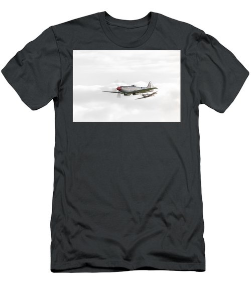 Silver Spitfire In A Cloudy Sky Men's T-Shirt (Athletic Fit)