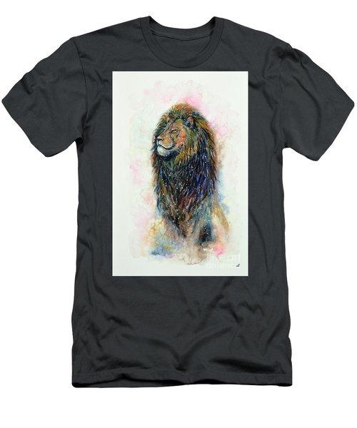 Men's T-Shirt (Slim Fit) featuring the painting Simba by Zaira Dzhaubaeva