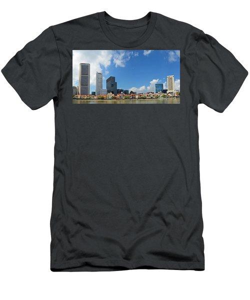 Men's T-Shirt (Slim Fit) featuring the digital art Singapore River Front by Eva Kaufman