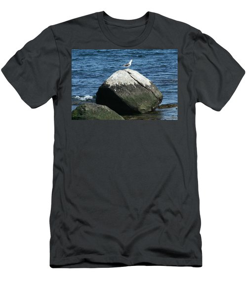 Men's T-Shirt (Slim Fit) featuring the digital art Singing Seagull by Barbara S Nickerson