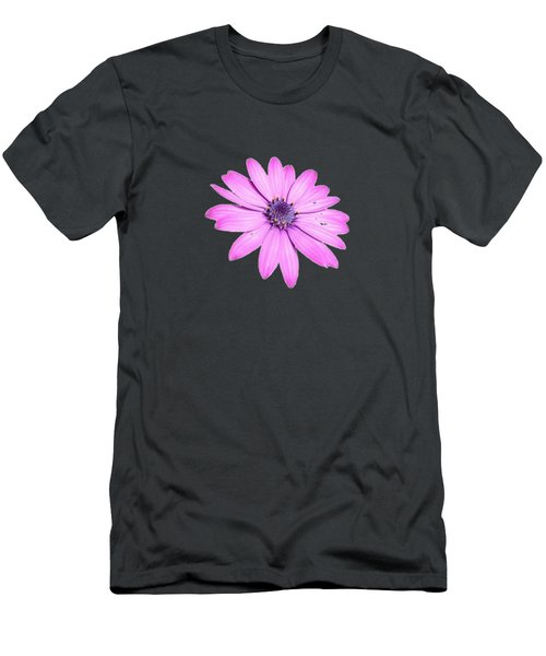 Single Pink African Daisy Men's T-Shirt (Slim Fit) by Tracey Harrington-Simpson