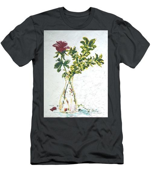 Single Red Rose Men's T-Shirt (Athletic Fit)