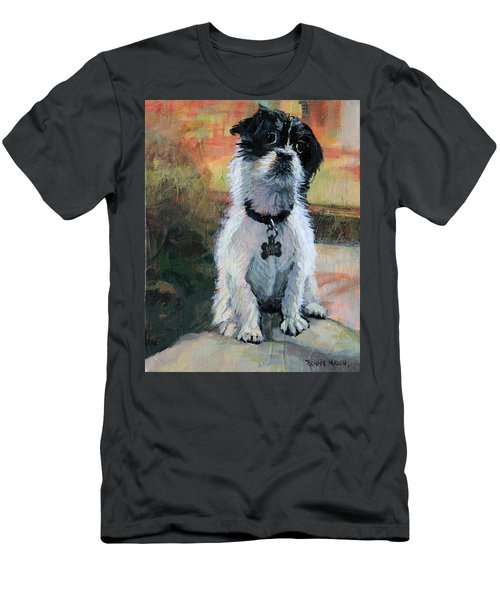 Sitting Pretty - Black And White Puppy Men's T-Shirt (Slim Fit) by Bonnie Mason