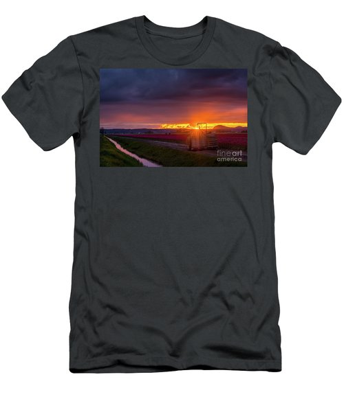 Men's T-Shirt (Slim Fit) featuring the photograph Skagit Valley Tractor Sunstar by Mike Reid